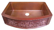 "Copper Kitchen Single Bowl Round Front Sink 33"" x 25"""