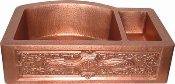 "Copper Kitchen Sink Double Bowl Rounded Back 33"" x 22"""