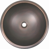Copper Round Oval Lavatory Sinks Smooth