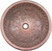 Copper Vanity Sink Aztec Oak Leaf
