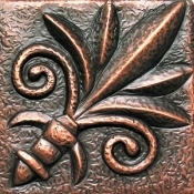 "Copper Tile 4"" Fleur de lis Inclinations"