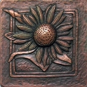 "Copper 4"" Tile Garden Series Flower #6"