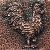 "Copper 4"" Tile Rooster"