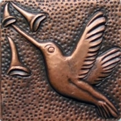 "Copper 4"" Tile Humming Bird #2"