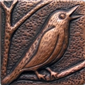 "Copper Tile 4"" Song Birds"