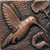 "Copper Tile 4"" Humming Bird #3"