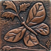 "Copper Tile 4"" Butterflies"