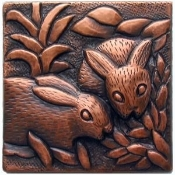 "Copper Tile 4"" Bunnies"