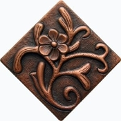 "Copper 4"" Tiles Flowers"