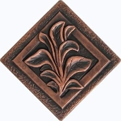 "Copper Tiles 4"" Flowers"