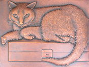 "Copper Mural 12"" x 16"" Cat"
