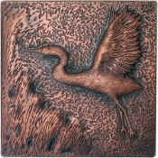 "Copper Tile 4"" Swan #2"