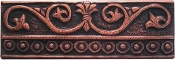 "Copper Border Tile 2"" x 6"" Fresco Flower Liner 2"