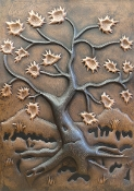 "Copper Mural Fall Tree 24"" x 36"""