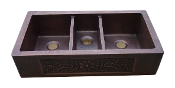 Coper Farmhouse Triple Bowl Sink 44""