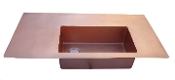 "Copper Drainboard Sink 44"" x 26"" x 5"""