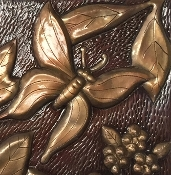 "Copper Tile 4"" Butterfly #3"