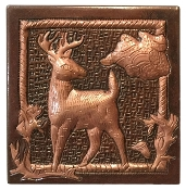"Copper 4"" tile Deer"