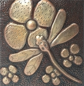"Copper Tiles 4"" Dragon Fly #2"
