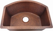 Copper Rounded Front Bar Sink 16""