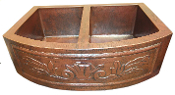 Copper Kitchen Double Bowl RF Sink 33""