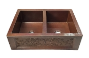 "Copper Kitchen Double Bowl Sink 50/50 40"" 42"" 44"""