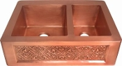 "Copper Kitchen Double Sink 60/40 33"" x 22"""