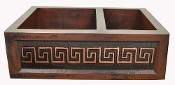 "Copper Kitchen Double Sink 60/40 33"" 30"" 36"" Copper Border Tile Designs"