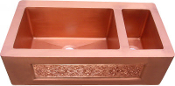 "Copper Kitchen Vessel Double Bowl Sink 33"" Counter Top Sink"