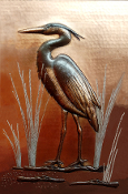 "Copper Mural 12"" x 16"" Heron #2"