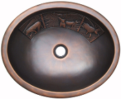 Copper Round Lavatory Sinks With Designs