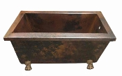 "Copper Rectangle Claw Foot Bath Tub 34"" Wide 12 Gauge Copper"