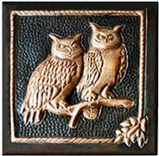 "Copper 4"" Tile Owls"