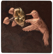 "Copper 4"" Tiles Hummingbird And Flower"