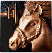 "Copper 4"" Tile Horse #2"