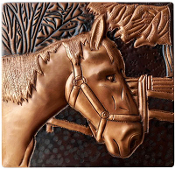 "Copper 4"" Tile Horses #3"