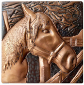"Copper 4"" Tile Horse #4"
